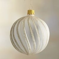 Winter White Champagne Glitter Ribbon Ball Ornament