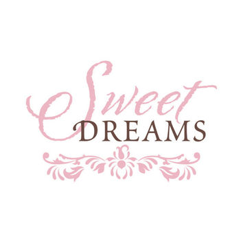 Sweet Dreams - Shabby Chic Vinyl Wall Decal Quote Lettering Decor - Baby Girl Boy Nursery Toddler Teen Room Wall Art 14H x 22W CQ004