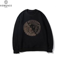 Versace 2019 new cotton round neck thin section heavy duty hot drilling long-sleeved sweater Black