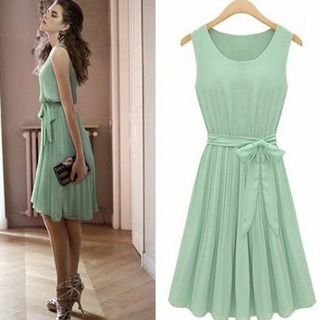 New Fashion Light Green Chiffon Summer Dress,Sleeveless Dress = 1956704644