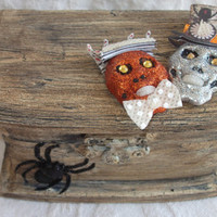 Perfect Halloween Wedding Ring Bearer Pillow ALternative Aged Chippy Grunge Spider Glitter Skulls