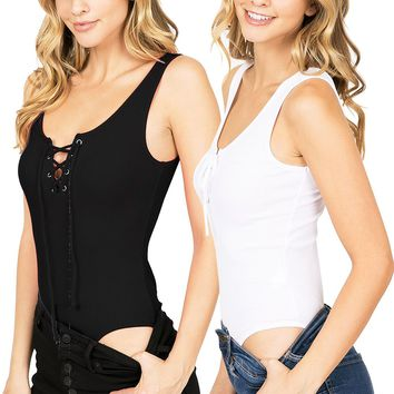 Lace-up Ribbed Bodysuit (2PK)