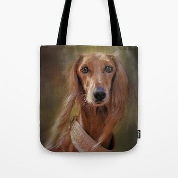 Saluki Portrait Of The Ancient Hound Tote Bag by Theresa Campbell D'August Art