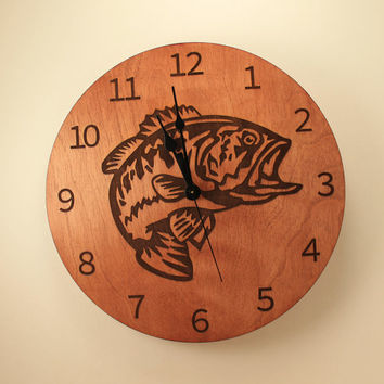 Bass laser cut clock Fish clock Wood clock Wall clock Wooden wall clock Animal clock Nature clock Wildlife clock Fishing gift Home clock