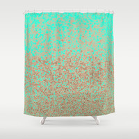 Gold and Mint Shower Curtain by Cafelab