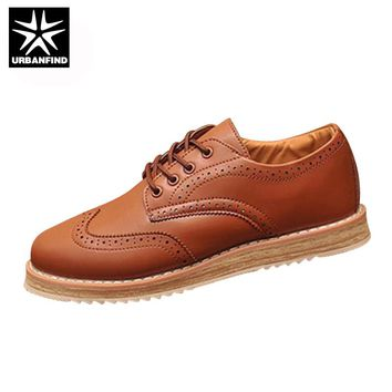 URBANFIND Men Fashion Brogue Shoes Leather Oxfords Large Size EU 37-47 Vintage Style Man Flat Lace-up Shoes