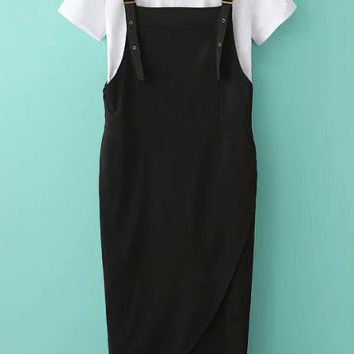 White Short Sleeve Top With Black Wrap Pinafore Dress
