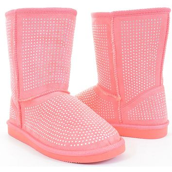 Girls Fur Rhinestone Faux Shearling Pink Round Toe Ankle Boot KIDS