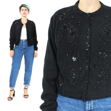 80s Black Sequin Cardigan Black Wool Cardigan Lambswool Sweater Black Beaded Cardigan Angora Sweater Fancy Jumper Evening Cardigan (S/M)