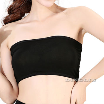 0e1dfeb1c7 GZDL New Style Wrapped Chest Beach Tops Women Strapless Bra Sexy Casual Tube  Top Bandeau Seamless