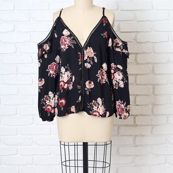 Black Floral Cold-Shoulder Blouse