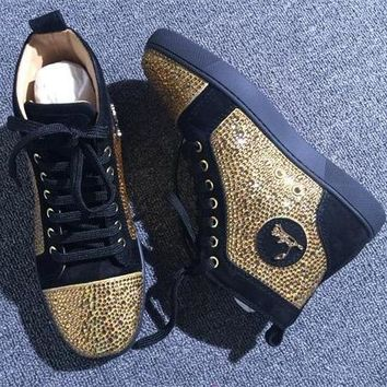Christian Louboutin CL Rhinestone Style #1963 Sneakers Fashion Shoes Best Deal Online