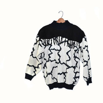 Vintage Southwestern Sweater Country Western Sweater Cow Print Sweater Suede Fringe Sweater Black and White Sweater 80s Southwestern Sweater