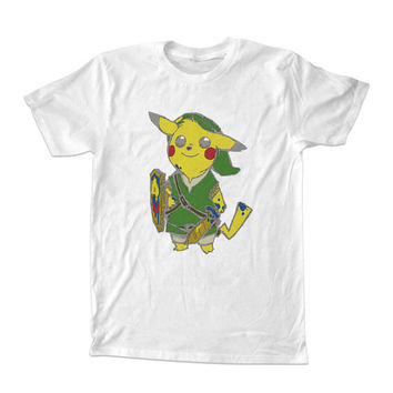 pikachu pokemon zelda parody For T-shirt Unisex Adults size S-2XL Black and White
