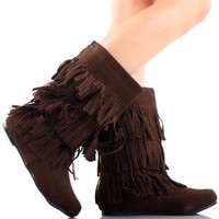 Women's Faux Suede Fringe Moccasin Beaded Tassle Mid Calf Boots Black, Camel. Brown (7.5, Dark Brown)