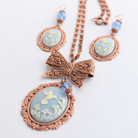 Hummingbird Necklace Earrings Set, Hummingbird Lover Gift, Hummingbird Jewelry Set, Rose Gold Copper Cameo Necklace, Cameo Earrings, SRAJD