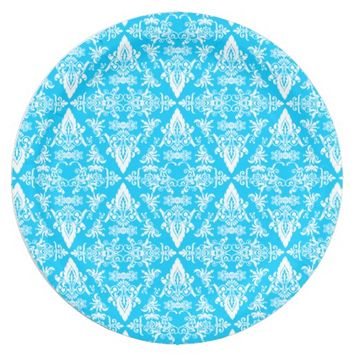 Damask 04 Lt Blue-White-Paper Party Plates 9 Inch Paper Plate