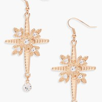 Amy Military Inspired Cross Diamante Earrings | Boohoo