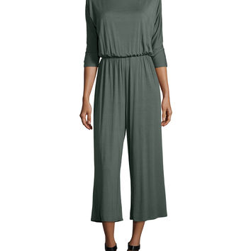 Melton 3/4-Sleeve Wide-Leg Cropped Jumpsuit, Size: