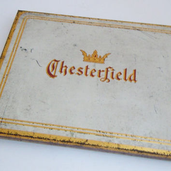 Chesterfield Cigarette Tin Vintage Case | Chesterfield Tin Cigarettes Tobacco Liggett Myers Metal Holder | Mid Century Tobacciana Collector