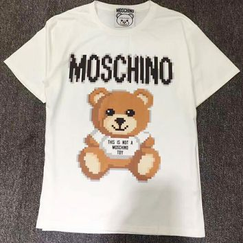 MOSCHINO Fashion Women Cute Mosaic Bear Print Short Sleeve T-Shirt Top