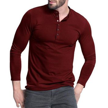 DCCKON3 Men's Henley Shirt 2018 Popular Design Tee Tops Long Sleeve Stylish Slim Fit Plain T-shirt Button Placket Casual Men T-shirts
