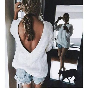 Open V Back Sweater Loose Pullover Women Basic Casual Knitwear