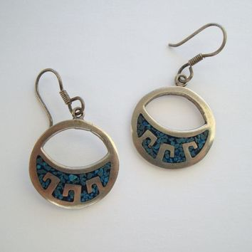 Taxco Mexican Sterling Silver Turquoise Inlay Earrings Vintage Jewelry