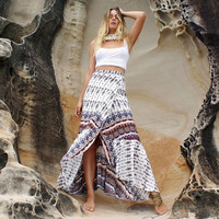 Vintage Print Wrap Around Maxi Beach Skirt