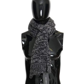 Dolce & Gabbana Black Gray Cashmere Patterned Scarf