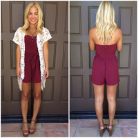 Wired In Strapless Romper - BURGUNDY