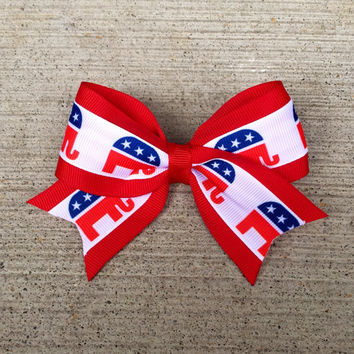 Republican Party Elephant Hair Bow