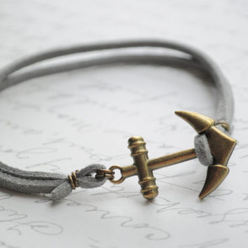 Summer Bracelet No.51--  Double strand gray suede bracelet- Anchor clasp