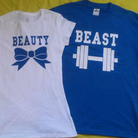 Free Shipping for US Beauty And The Beast Matching Couples Tank Tops/Shirts: Bue and White Different Version