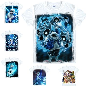 New Game Undertale Sans And Papyrus Skeleton Brother Unisex Tops Tee White T-shirt cosplay costume