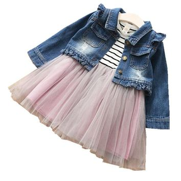 Trendy Y1803850 2018 Baby Girls Jacket Ruffles Girl Coat With Dress Kids Outerwear Jean TUTU Dress Girls Clothes Girls Clothes Set AT_94_13