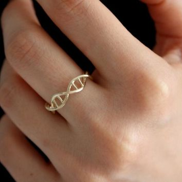 Jisensp New Arrival Trendy Lovely Infinity DNA Ring for Women Biology Chemistry Molecule Jewelry Minimalist Women Gift bijoux