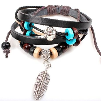 Unisex Vintage Adjustable New Indian Style Wooden Bead Wrist Bracelet Leather FeatherJewelry Hand Accessories Fashion Quality