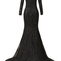 ORIENT BRIDE Elegant Double V-neck Lace Floor-Length Prom Dresses Size 2 US Black