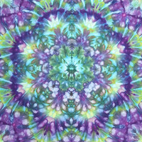 Tie dye tapestry wall hanging purple green yellow blue