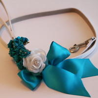 Turquoise wedding dog Leash, Wedding accessory, High quality Leather, Turquoise Wedding accessory, Dog Leash