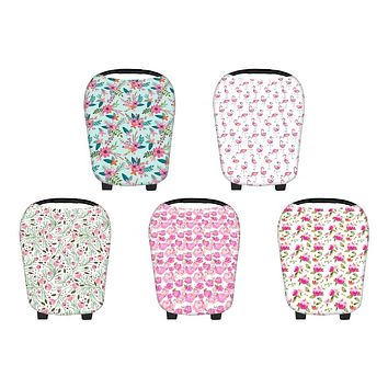 Multi-Use Stretchy Newborn Infant Nursing Cover Floral Baby Car Seat Cart Canopy New