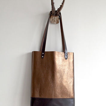 Brass Metallic with Brown Leather Tote bag No. TL- 3002