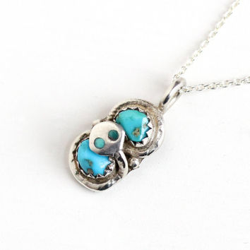 Vintage Sterling Silver Turquoise Snake Pendant Necklace - Retro 1960s Signed Effie Calavaza Zuni Native American Tribal Serpent Jewelry