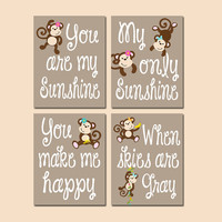 Monkey Girl You Are My Sunshine Wall Art Girl Artwork Nursery Rhyme Quote Flower Baby Song Set of 4 Prints Baby Crib Decor