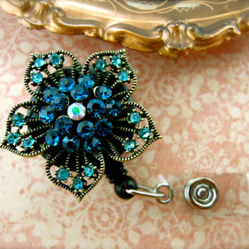 Jasmine Rhinestone Flower - Retractable Badge Holder - Flower Badge Holder - Rhinestone ID Badge Reel - Cute Flower ID Holder - Lanyard