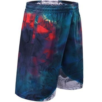 Water Ripple Print Basketball Shorts Mens