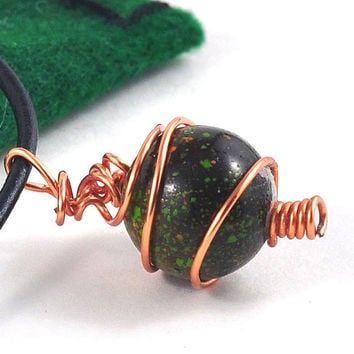 Marble Choker Upcycled Black and Green in Handmade Copper Wire Wrapped Cage in Handmade Gift Pouch