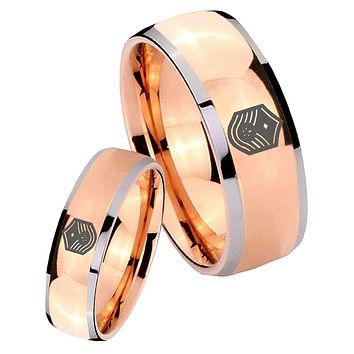 His Hers Rose Gold Dome Chief Master Sergeant Vector Two Tone Tungsten Wedding Rings Set