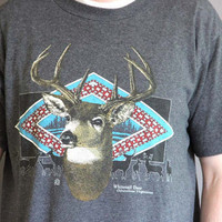 Vintage 1990s Whitetail Deer Nature Tee / 90s Mens Gray Buck Tshirt / Forest / Antlers / Hunting Shirt / Fathers Day Gift / Jerzees